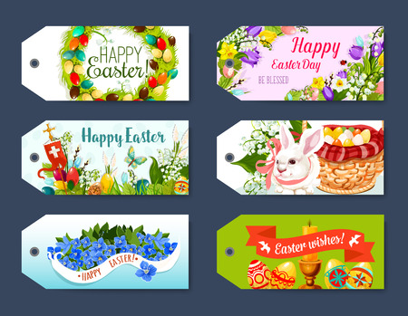 easter background: Easter gift tag and greeting label set design