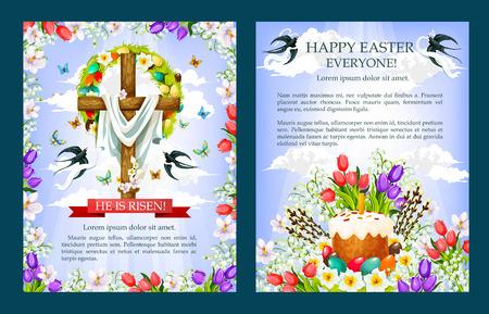 Easter vector crucifix cross, paschal cake poster Illusztráció