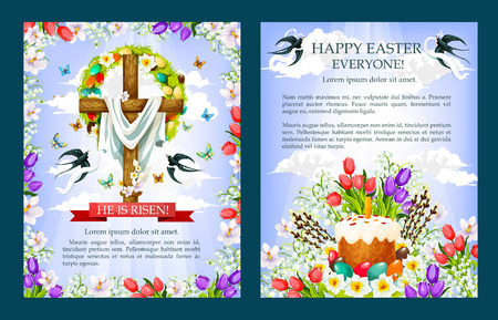 Easter vector crucifix cross, paschal cake poster Illustration