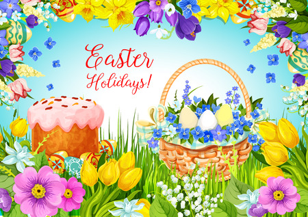 greeting season: Easter paschal cake, eggs, flowers vector greeting
