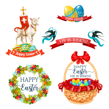 Vector icons and paschal symbols for Easter design