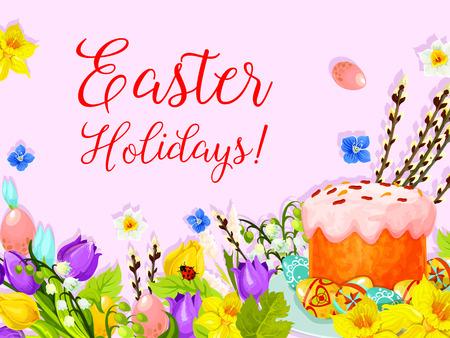 Easter paschal cake egg, willow flower vector card Çizim