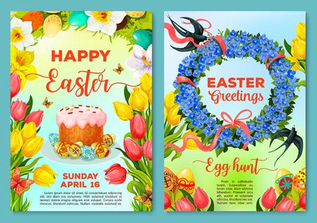 Cartel de caza de huevos de Pascua, plantilla de invitación de viajero