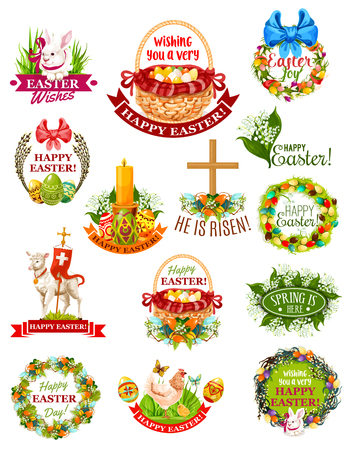 pascuas navideÑas: Easter holiday label, badge and symbol set