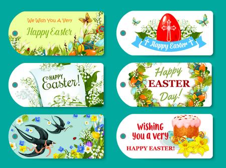 religion catolica: Etiqueta de saludo de Pascua y conjunto de etiquetas para el diseño de regalos Vectores