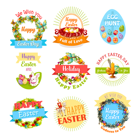 pascuas navideÑas: Easter egg and rabbit icon set for holiday design
