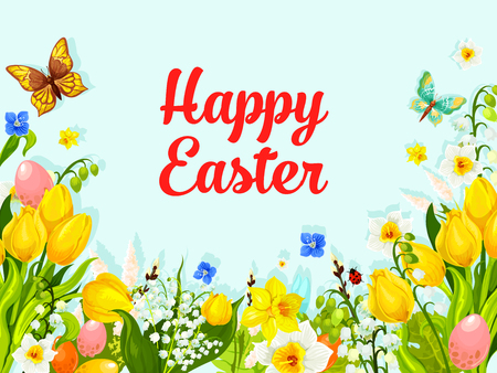 Easter spring flowers holiday vector greeting card