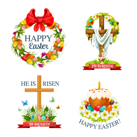 Vector paschal Easter isolated icons set