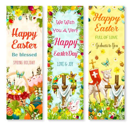 Easter holiday symbols greeting banner set design
