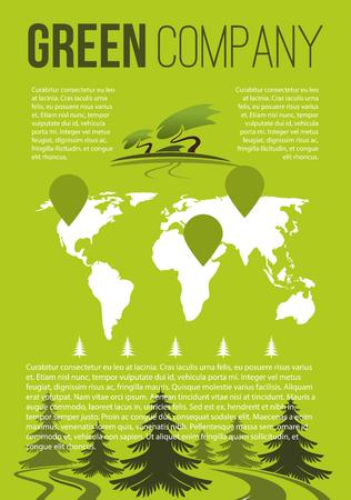 Green company vector brochure template