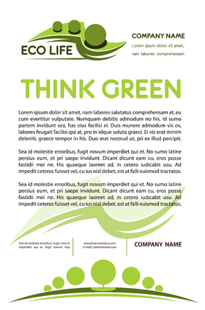tree world tree service: Green or eco nature company vector poster