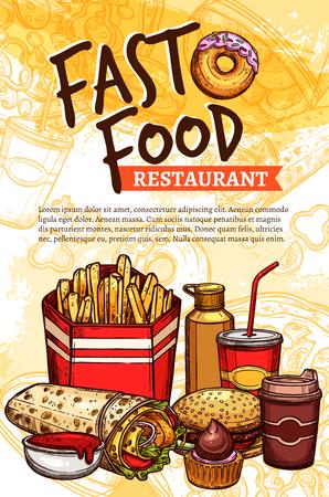restaurant food: Fast food vector sketch poster for restaurant