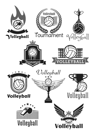 Volleyball tournament sport club vector icons set on a white background