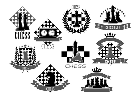 sports winner: Vector chess icons for game club contest