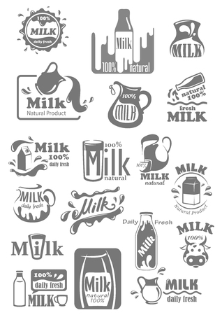 dairy products: Vector icons and labels for milk dairy products