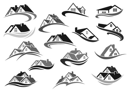 Vector residential icons of real estate house