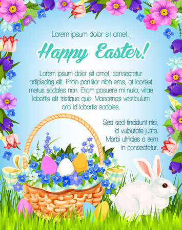 Happy Easter vector paschal greeting poster
