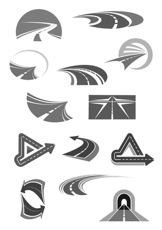 Road vector icons of travel, construction company