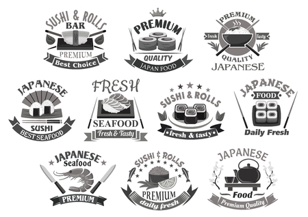 Vector icons for japanese sushi premium restaurant Illustration