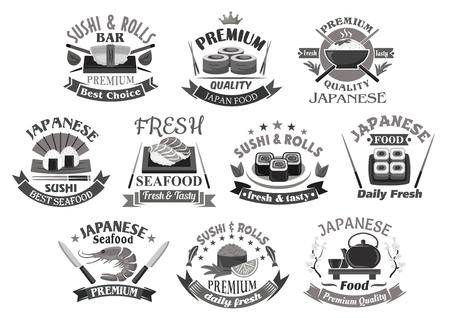 Vector pictogrammen voor Japans sushi premium restaurant