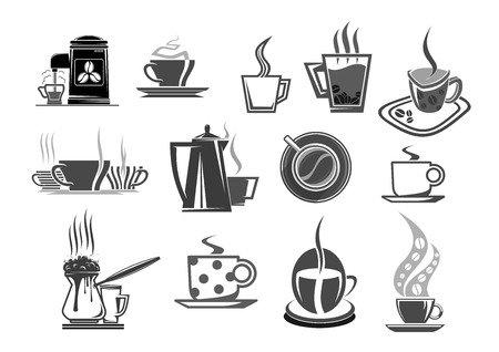 steamy: Cafe cafeteria coffee cups and beans icons.