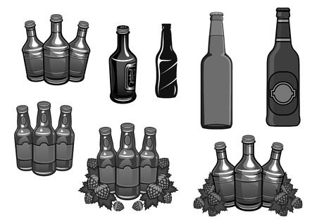 plant to drink: Beer bottles and hops brewery vector icons set Illustration