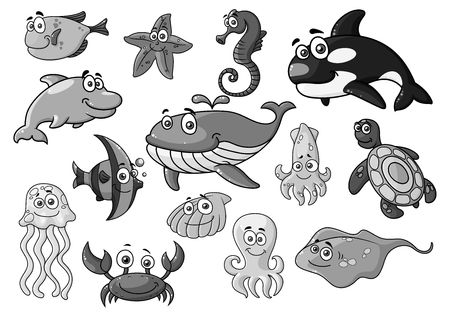 Sea ocean cartoon animals, fishes vector icons set