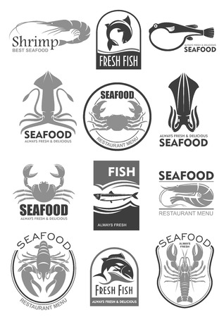 Vector icons for seafood fish food restaurant menu Illustration