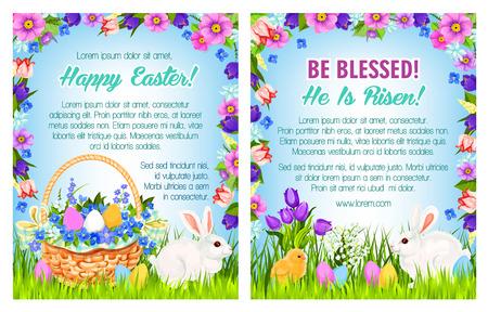 Easter spring holidays poster template design Illustration