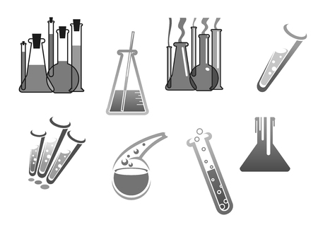 laboratory equipment: Chemistry vector icons chemical tubes tests Illustration