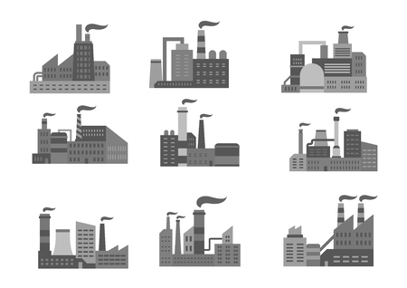 Industrial factory or industry plants vector icons Stock Vector - 75160581