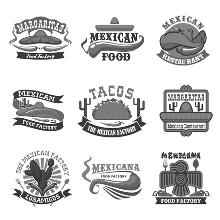 chips and salsa: Mexican cuisine restaurant vector icons set