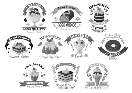 Bakery pastry and desserts vector template icons Illustration