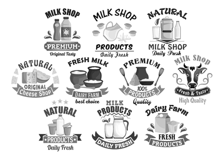 Milk shop icons for farm dairy products. Ilustrace