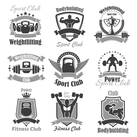 powerlifting: Weightlifting fitness gym sport club vector icons