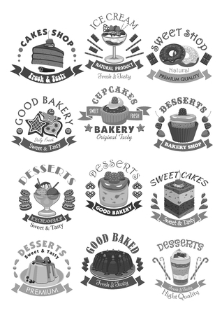 Bakery shop pastry and desserts vector icons Illustration