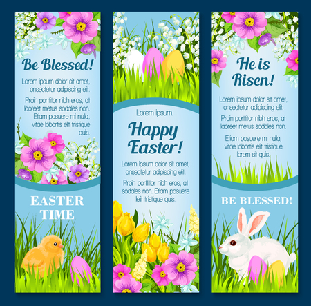 bless: Easter vector banners for paschal greetings