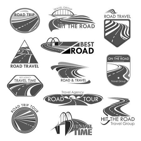 Road travel company agency vector template icons