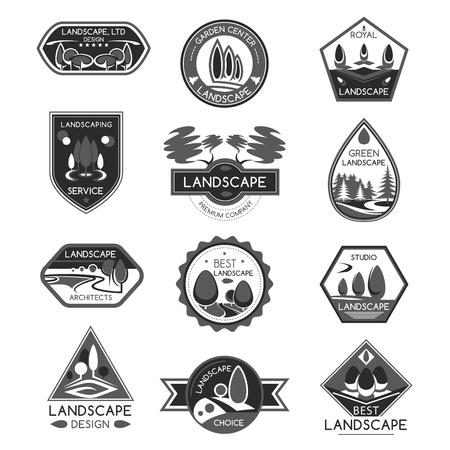 Landschapsontwerp bedrijf vector icons set Stock Illustratie