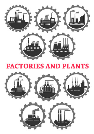 industrial industry: Industrial vector icons of factory industry plants