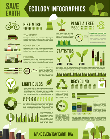 Nature conservation vector infographics template Imagens - 75160293