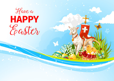 passover and easter chick: Easter greeting paschal passover lamb vector card
