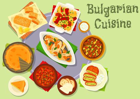 Bulgarian cuisine dinner icon for food design