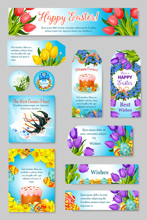 Vector Easter greeting cards, tags, banners set Illustration
