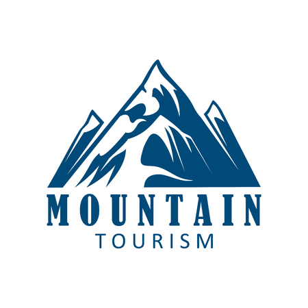 mountaineering: Mountain tourism and climbing sport icon. Mountain landscape with snowy peak and rocky hills for travel Illustration