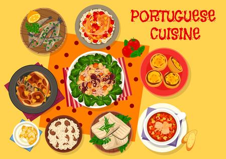 Portuguese cuisine lunch icon for menu design