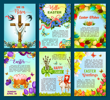 Easter poster template of egg, flower, cake, cross