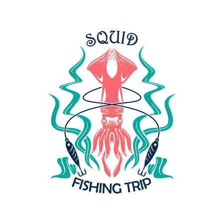 Fishing trip sporting symbol with squid