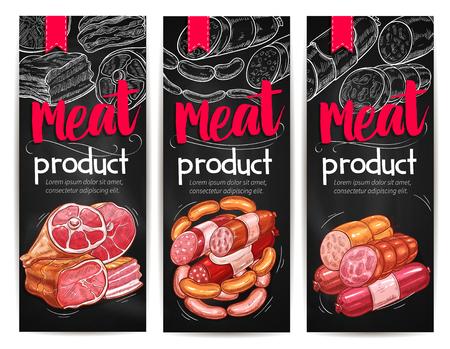 肉やソーセージの黒板バナー テンプレート  イラスト・ベクター素材