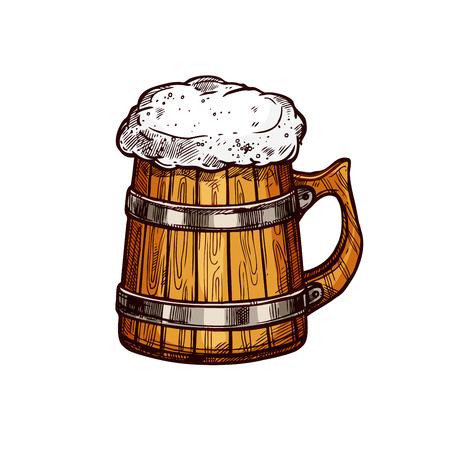 맥주 목조 머그잔 절연 스케치 디자인 일러스트